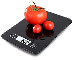 Food Scale, 11 lb Digital Kitchen Scale Weight Grams and oz for Cooking Baking, 1g/0.1oz Precise Graduation in oz, lb'oz, g, kg, ml, Sleek Tempered Glass Panel and Large Backlit LCD Display