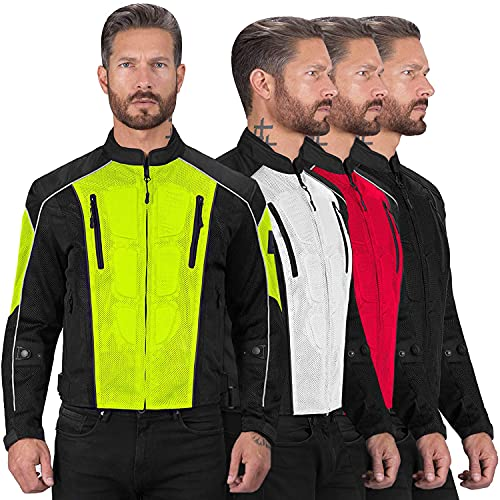 Viking Cycle Textile Warlock Mesh Motorcycle Jacket for Men – Removable Armor, Summer Riding Gear...