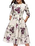 Vestido de Noche o Fiesta para Mujer Estilo Informal Manga Larga Cintura Alta Falda en Trapecio Estampado Floral Estilo Vintage (Blanco, L)
