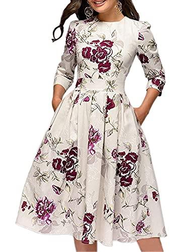 Vestido de Noche o Fiesta para Mujer Estilo Informal Manga Larga Cintura Alta Falda en Trapecio Estampado Floral Estilo Vintage (Blanco, XL)