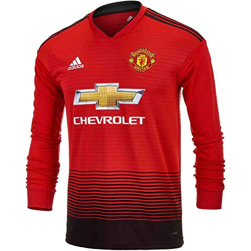 adidas Junior Manchester United Home L/S Jersey – 2018-19 (Real Red/Black) (XL)