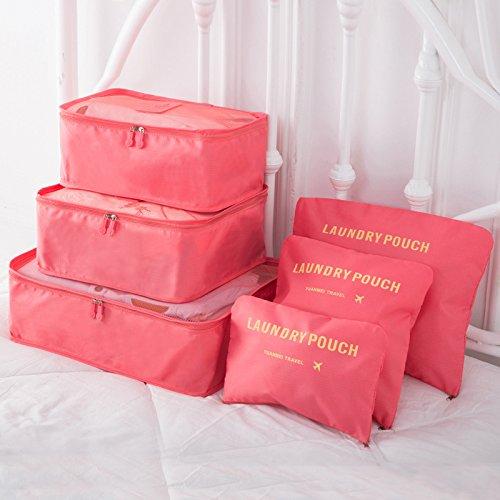 yhlve Cubes d'emballage Transparents et imperméables Idéal pour Ranger Vos valises, 6pcs/Set Watermelon Red, Small