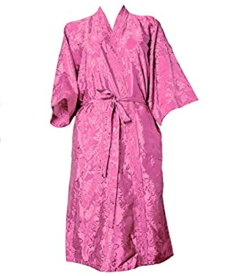 Artiwa Unisex Lightweight Silk Kimono Bathrobe for Women & Men Rose