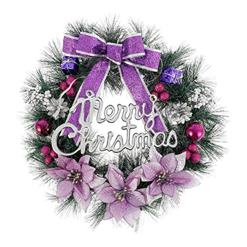 15.7inch/40CM Christmas Wreaths Decorations,Artificial Christmas Wreaths with Bells Bowknot and Letter Merry Christmas for Xmas Festival Tree Display Indoor Outdoor Christmas Decor