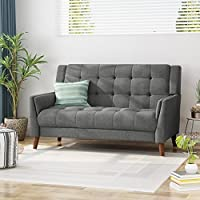 Christopher Knight Home Evelyn Fabric Loveseat (Dark Gray)