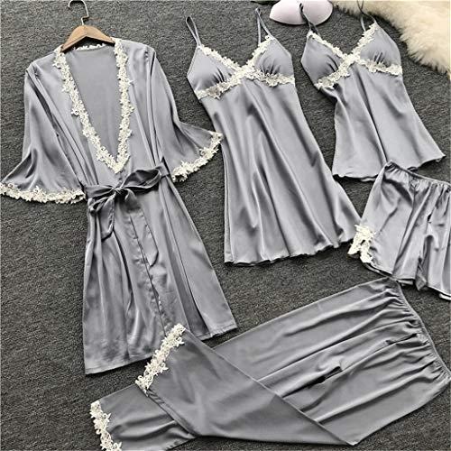 No branded Pijamas De Las Mujeres Pijamas de Seda sólido Total 5 x Conjunto de Pijama de Raso Pijamas del cordón Atractivo del camisón de la Ropa de Noche Inicio JFCUICAN (Color : Gris, Size : L)