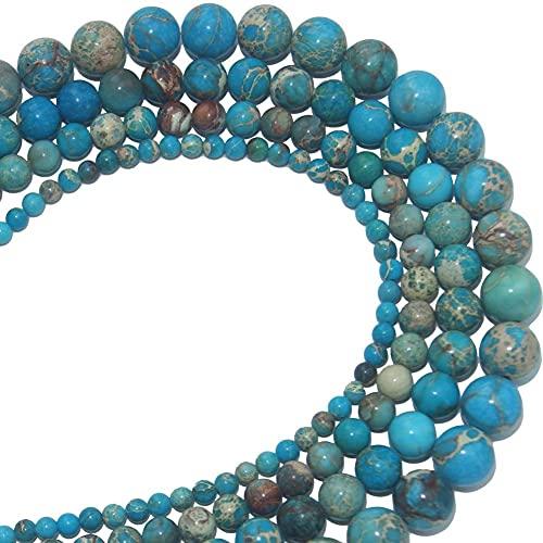 YELVQI Piedra Natural Piedra Natural Lago Azul Mar Sedimento Turquesa Jasperios Imperiales Perlas para Joyería Que Hace Bricolaje Pulsera Collar 4 6 8 10 MM (Color : 8mm 45pcs Beads)