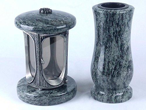 designgrab Alu Grablampe aus Aluminium in Antikoptik und Granit Grabvase Taille-medium in Olive Green grün