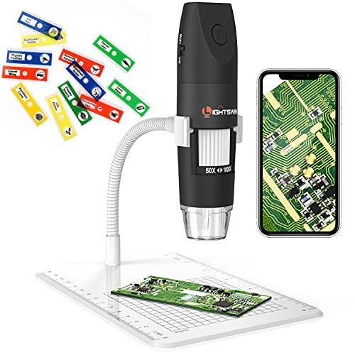 Microscopio digitale wireless, Lightswim 50~1000x Microscopio portatile mini tascabile Ingrandimento con fotocamera HD 1080P da 2 MP, 8 luci a LED per iPhone/iPad/Smartphone/Tablet/PC (nero)