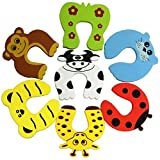 6 Pcs Finger Pinch Baby Child Kid Pet Guard Protector Safety Cartoon Animal Design Strong Unbreakable Foam Door Slamming Stopper Prevents Getting Locked in Room Baby Proofing