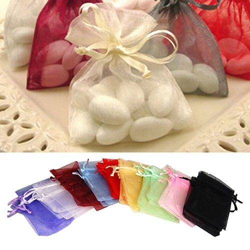 Brussels08 Lot de 50 pochettes à bijoux en organza transparent avec cordon de serrage, pour mariage, fête, festival, bonbons, bijoux, cadeaux, échantillons, sacs cadeaux multicolores 7 cm par 9 cm