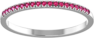 Solid Sterling Silver Delicate & Dainty Band Gemstone Ring for Women