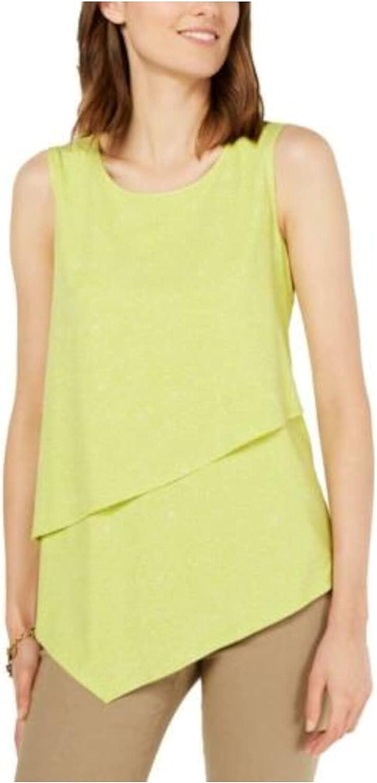 ALFANI Women's Printed Asymmetrical Blouse Shirt Top