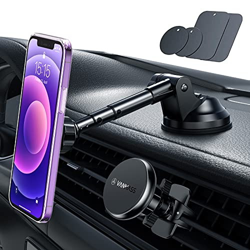 VANMASS Magnetic Phone Mount, [Ultra Durable] Dashboard Phone Mount Unique Aluminium Alloy Structure, 6X Strong Magnets Super Sticky Suction Cup Phone Mount for Windshield Dash Air Vent