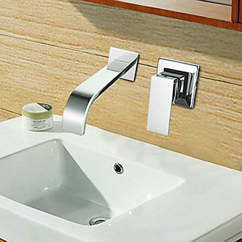 Moderne Wandkeramikventil Einhand-Doppel-Loch Verchromung Waschbecken Wasserhahn