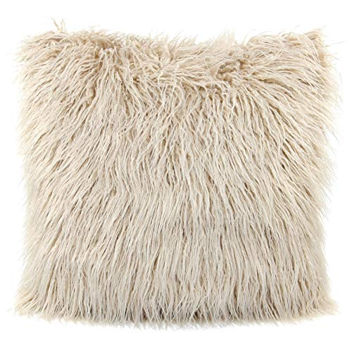 MHJY Faux Fur Pillow Case, Mongolian Fluffy Pillow Cover Soft Plush Throw Pillow Case Cushion Cover Deluxe Home Decor Bed Sofa Car Decorative Pillowcase(18 x 18 Inch)