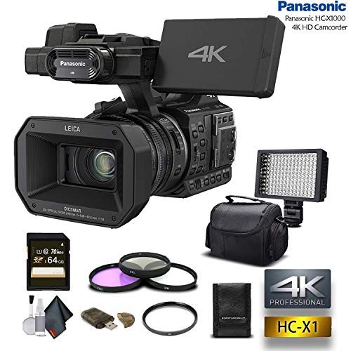 Panasonic HC-X1000 4K DCI/Ultra HD/Full HD Camcorder with 64GB Memory Card, LED Light, Case, Telephoto Lens, and More - Advanced Bundle