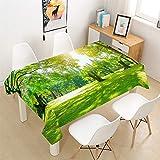Morbuy Tischdecken Rechteckig, 3D Urwald Tropischer Regenwald Drucken Tischdecke Quadratisch Wasserdicht Lotuseffekt Abwischbar Tischtuch für Küche Garten Outdoor Dekoration (Stil 1,90x90cm)