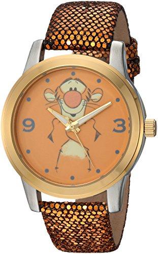 DISNEY Pooh Tigger Reloj de cuarzo analógico con correa de piel sintética para mujer, dorado, 18 (Modelo: WDS000353)