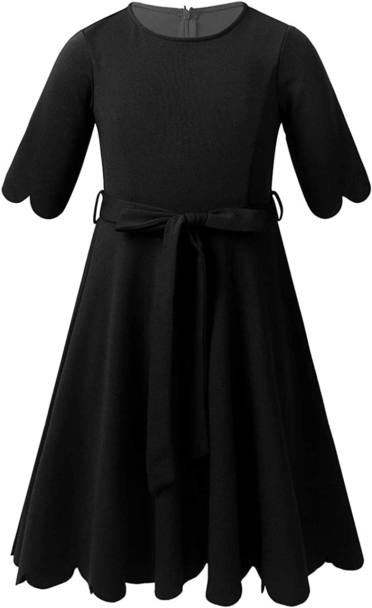 winying Girls Solid Colour 3/4 Sleeves Scallop Edge A-line Dress with Belt for Party Casual School