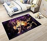 Tritow Anime Carpet Demon Slayer Rug Non Slip Anti Fatigue Agatsuma Zenitsu Doormat Cartoon Floor Mat for Bedroom Front Porch House Decoration Playroom Boys Room