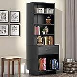 MELLCOM Wooden Bookcase Storage Cabinet Bookshelf with 1 Drawer and 3 Shelves, Modern Standing Shelf, Side Corner Storage Cabinet Decor Furniture for Home Office Black