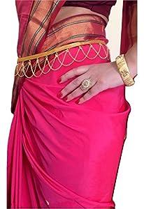 WomenSky Stylish Traditional Gold Polished Kamarpatta Waist Chain for Women