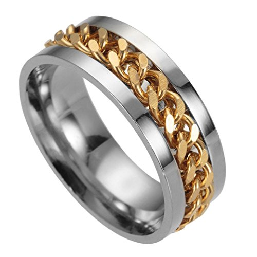 WensLTD Clearance! Men's Titanium Steel Chain Rotation Ring Cross Border Jewelry Ring (#9, Gold)