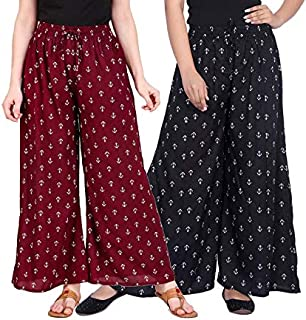 LCUPR Anchor Print and # Tag Design Women Free Size Rayon Printed Palazzo (Suitable for Waist Size 28 to 38 Inches)
