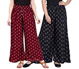 LCUPR Black and Maroon Anchor Print Design Women Free Size Rayon Printed Palazzo pack of 2 (Suitable for Waist Size 28 to 38 Inches)