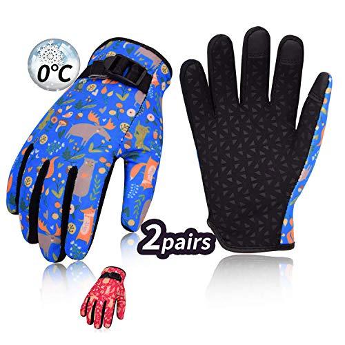 Vgo... Kinder von 2-4 J.A, 2 Paare über 0℃, Fleece von 3M Thinsulate C40, Fingerhandschuhe, Sport, Outdoor, REIT, Fahrrad, Touchscreen (Kid-XS, Blau & Rot, SL221FW)