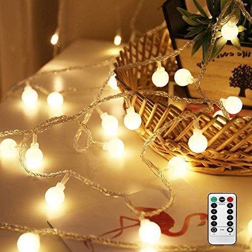 50 Leds Lichterkette Warmweiß,Nashaira Innen und Außen Deko Glühbirne Lichterkette IP44 Wasserdicht für Party, Garten, Weihnachten, Halloween, Hochzeit, Beleuchtung Deko Wohnzimmer [Energieklasse A++]