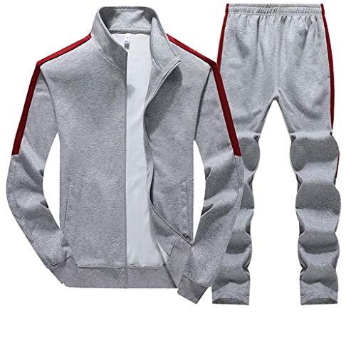 Trainingsanzug Sets Herren Männer Beiläufig Slim Fit Sweatshirt Sport Patchwork Sweatjacken und Sweathosen CICIYONER