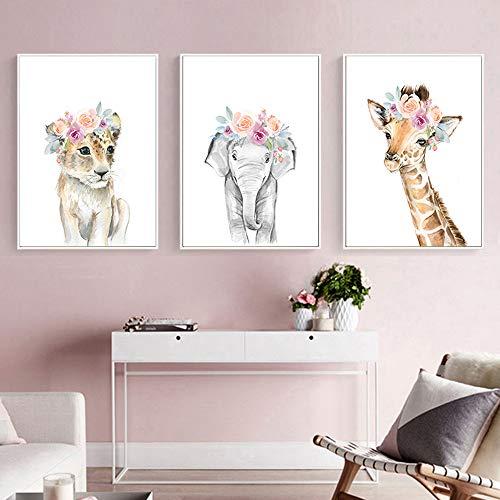 Nordic Ideas 3 Posters Chat éléphant Girafe Chambre de Bébé Affiches Animaux Tableau Enfants Fille Garcon Décorations Murales Impression sur Toile sans Cadre PTAN004-M