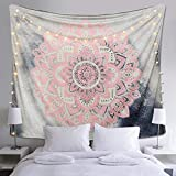 Alynsehom Tapestry Mandala Wall Hanging Decor Pink and Gray Indian Hippie Bohemian Flower Gypsy Decoration Beach Blanket Dorm Room Bed Sheets
