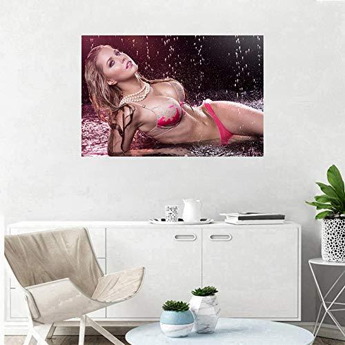WKAQM Sexy Frauen Poster Hot Bikini Mädchen Wandkunst Schlafzimmer Dekor Malerei Sexy Mädchen Drucke Leinwand Kunst Mode Unterwäsche Lady Wandkunst Bild 40 × 60cm Rahmenlos TL-215