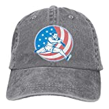 Hoswee Casquette de Baseball Chapeau Track and Field US Flag Unisex Custom Jeans Outdoor Sports Hat Casquette de baseball Ajustable