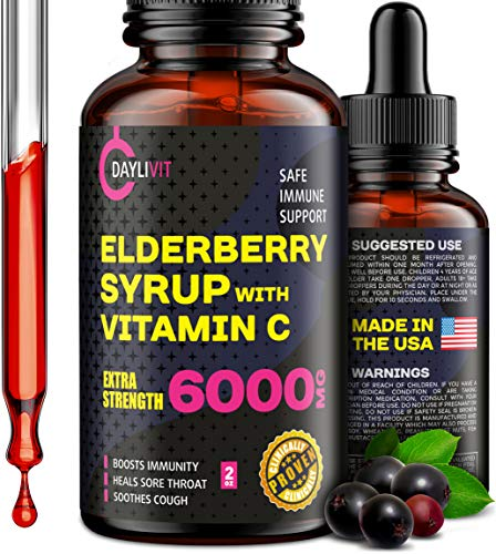 Elderberry Syrup for Adults & Kids - 6000mg Liquid with Vitamin C - Organic Immune Support Booster Supplement with Black Sambucus Extract - Extra Strenght Alternative to Capsules, Gummies, Pills, Tea
