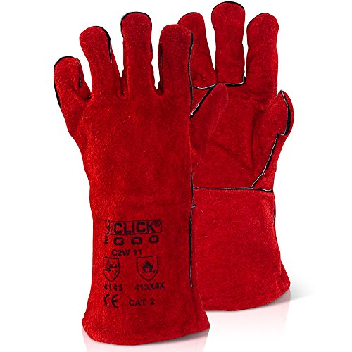 Rote feuerfeste Handschuhe aus Leder, vollständig gefüttert, im Hand- und Ärmelbereich, hitzebeständig, mit antibakteriellem Stift von Chemical Hut®