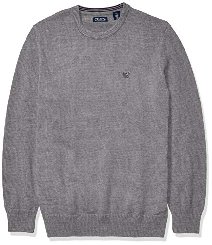 Chaps Men's Big and Tall Classic Fit Cotton Crewneck Sweater, Steel Heather, 4XB