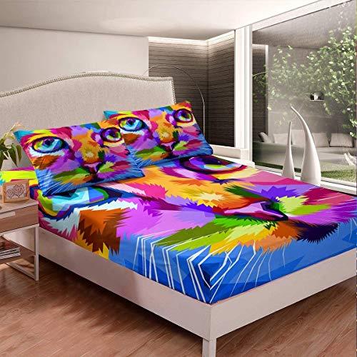779 LIICOCO 140x200cm Kinder Spannbettlaken Katze Drucken Bettlaken Set Bunte...