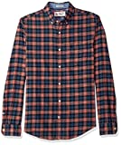 Original Penguin Men's Long Sleeve Flannel Button Down Shirt, Dark Sapphire Red, Medium