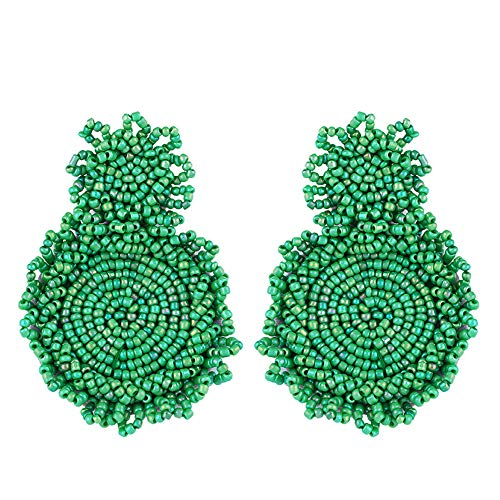Ningz0l Oorbellen voor dames, oorsieraden, legering, druppelvorm, creatieve Europese en Amerikaanse handgemaakte rijst, parels, oorbellen met accessoires, cadeau voor vrouwen groen