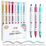 8 Subrayadores Color Pastel de SmartPanda – Rotuladores Fluorescentes de Dos Puntas, Gruesa y Fina – Juego de 8 Colores Variados