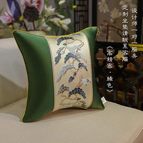 Nuevo cojín chino de lino de algodón bordado de flores de palisandro sofá cojín muebles de madera maciza almohada coche almohada lumbar almuerzo descanso cojín almohada-50x50 (funda de almohada)_Canc