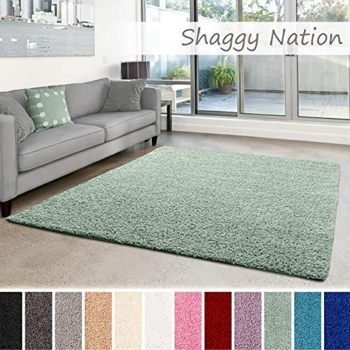 Shaggy-Teppich | Flauschiger Hochflor für Wohnzimmer, Schlafzimmer, Kinderzimmer oder Flur Läufer | einfarbig, schadstoffgeprüft, allergikergeeignet | Mint Grün - 60 x 90 cm