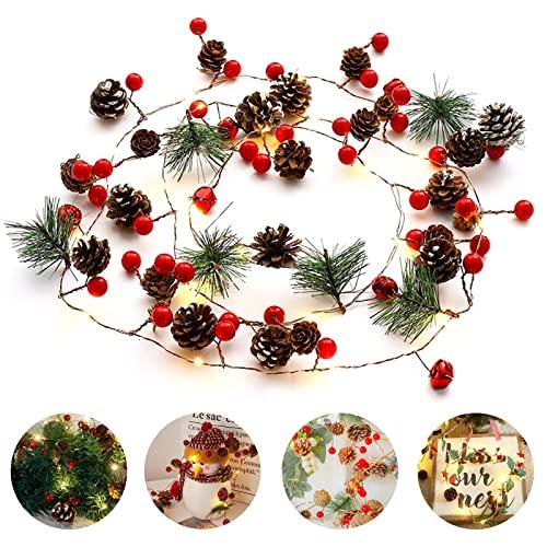 20 luci a LED in rattan con pigne rosse, alimentate a batteria, per decorazioni natalizie in famiglia, luce bianca calda, 2 m (senza batteria)