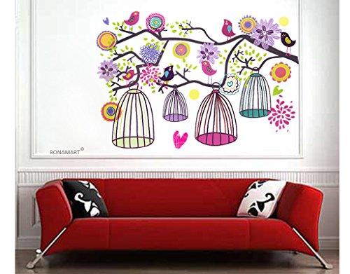 Flor y jaula de grillos - etiquetas de la pared - Mural - sala de niños sala de estar - Pegatinas Pared Casa Art Deco Adhesivos de pared vinilo removible cita(AY993)