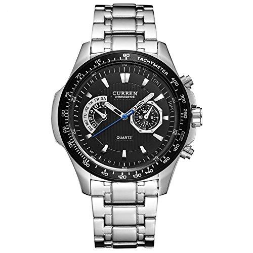 Curren Herren Uhr Analog Quarzwerk 2 Virtuelle Zifferblatt mit Edelstahl Armband 8020G