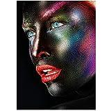 YIYAOFBH Schwarz und Weiß Kreative Gesicht Make-up Fantasie Aquarell Poster Leinwand Gemälde Schöne Dame Wandkunst Home Decor-40x60cm Rahmen